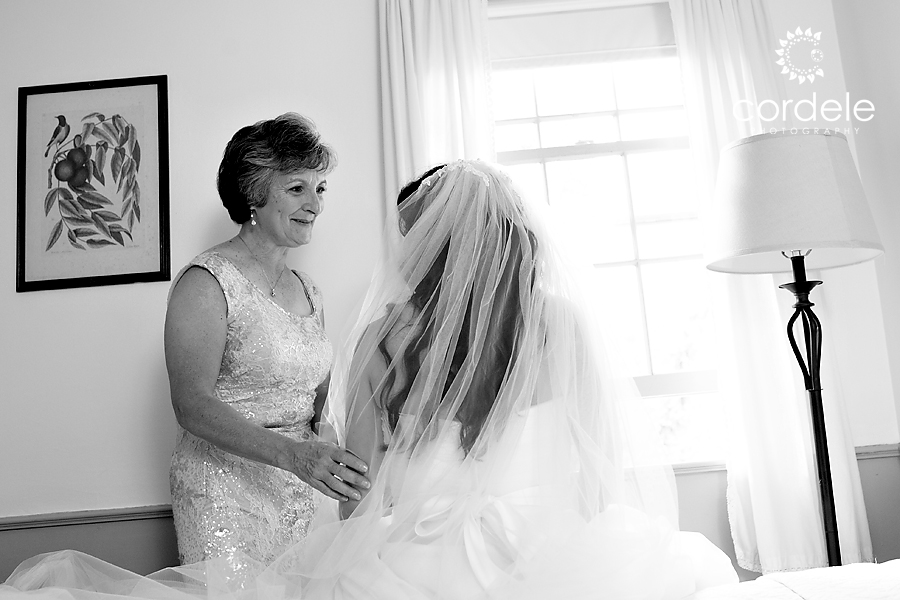 A mom talks to her daughter before she gets married at the Wayside Inn
