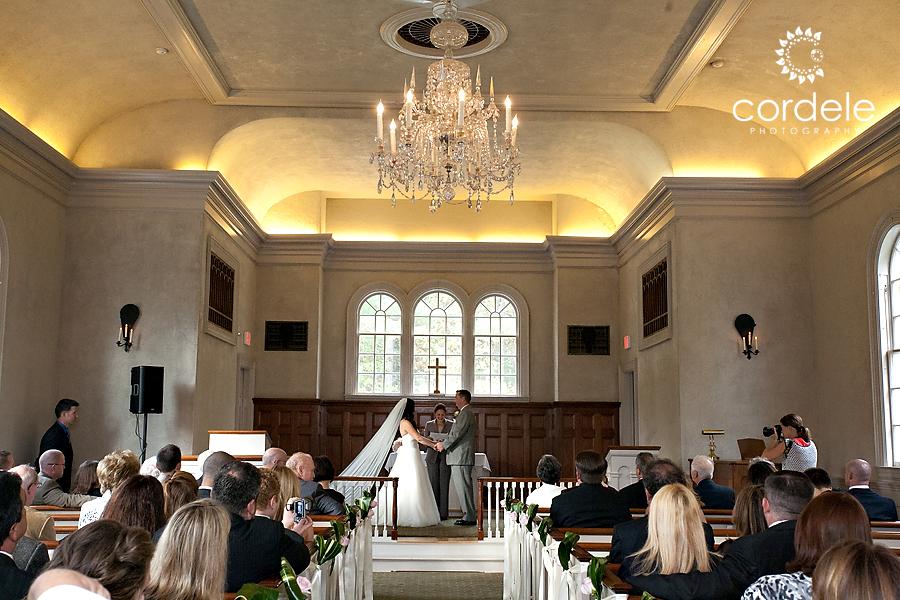 A Couple gets married at the chapel in Sudbury by the Wayside Inn